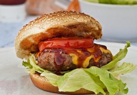 Beef burger in a toasted burger bun