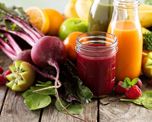 Fresh vegetable and freshly made fruit juices